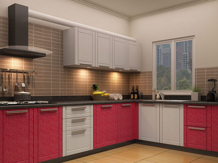 Red White Color Shade Kitchen Design Ideas