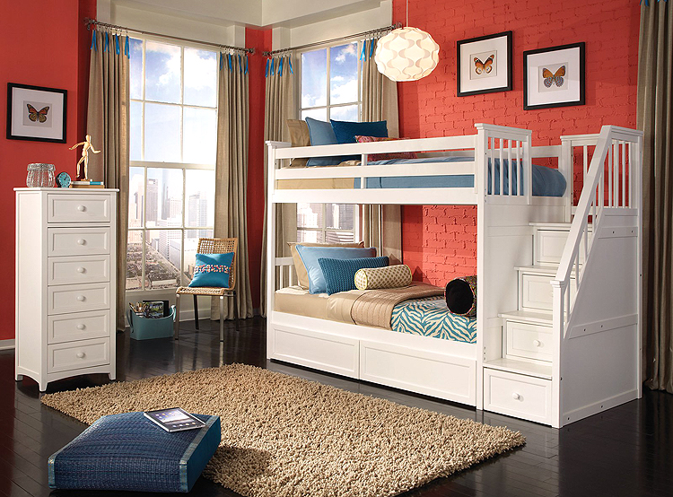White Wooden Loft Bed With Staircase