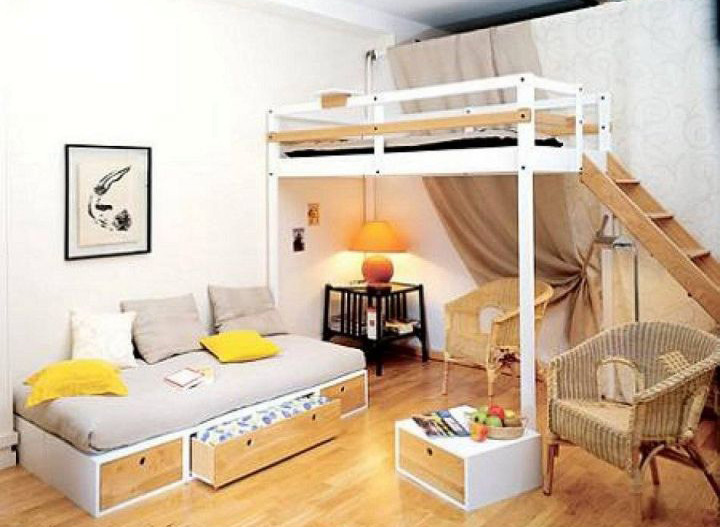 Adult Loft Bed with Stairs and Daybed