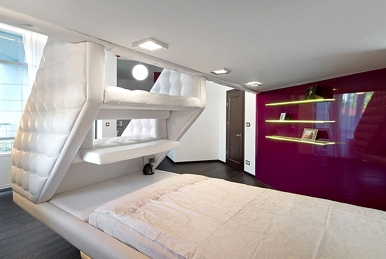 Glamor White Loft Bed For Adults