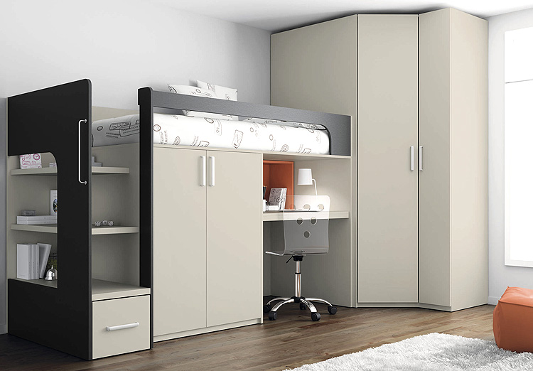 Adult Loft Bed With Desk Single Modern Loft Bed for Adult
