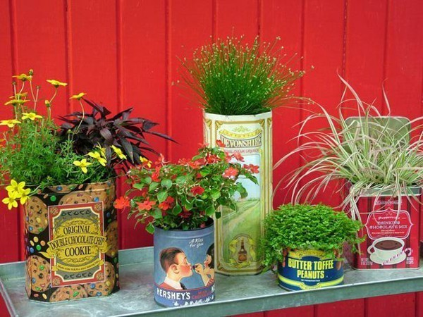 Coloured Cans and Jars as Flower Pots
