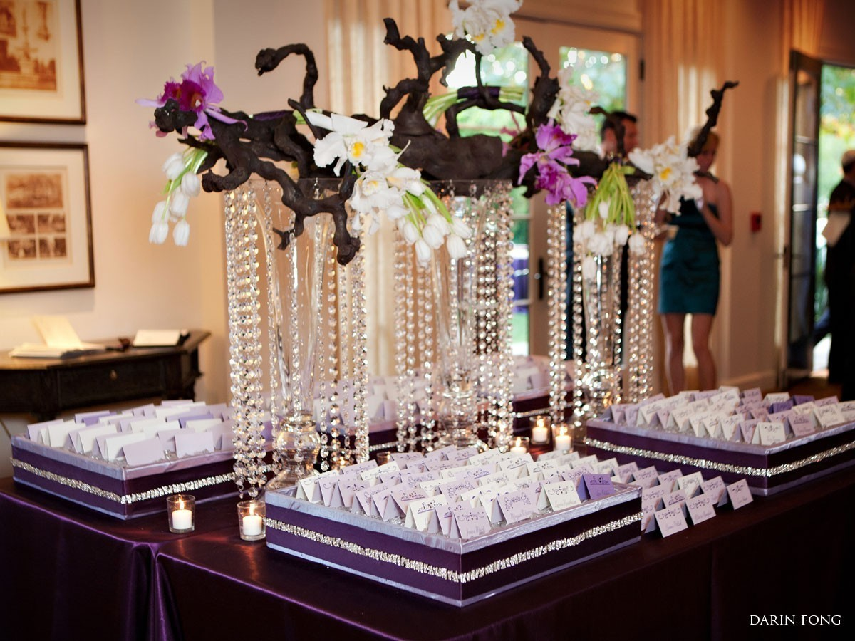 Purple and Crystal Escort Table Decor