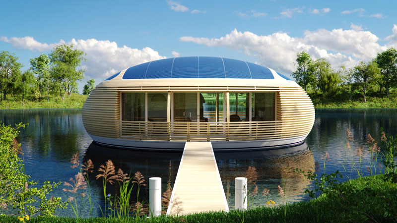 Solar Powered Floating Modern Home